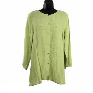 Eileen Fisher Tunic Top Green Viscose Linen Nylon